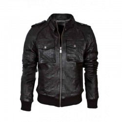 Black Biker Mens Leather Jacket