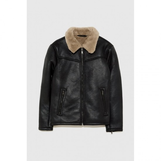 Black Leather Shearling Jacket With Contrasting Trim
