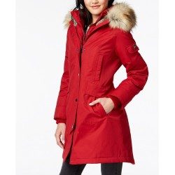 Red Faux-Fur-Trim Hooded Parka Coat