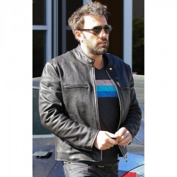 Ben Affleck Black Leather Biker Jacket