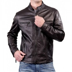 Biker Slim Fit Casual Dark Brown Jacket