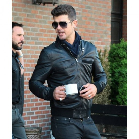 Bomber Style Robin Thicke Black Leather Jacket