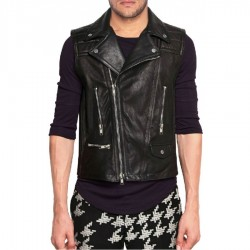 Asymmetric Zipper Mens Motorcycle Leather Vest