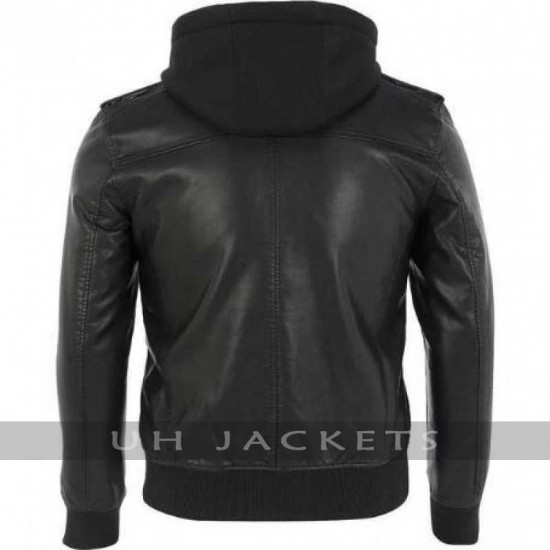 Black Rivet Bomber Faux Leather Jacket With Removable Hood & Knit Trim