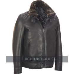 Leather Bomber Jacket With Detachable Faux Fur Collar