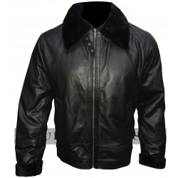 Bomber Black Fur Leather Jacket