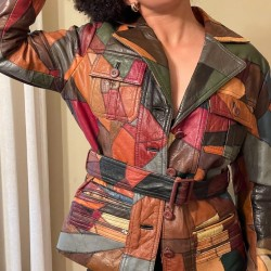 1960's Patchwork Leather Jacket with Button Front and Tie Waist
