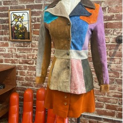 70s Rainbow Patchwork Suede Snap Button Jacket