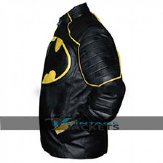 Batman Yellow Black Motorcycle Leather Jacket