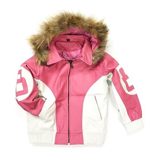 8 Ball Pink Leather Hooded Jacket