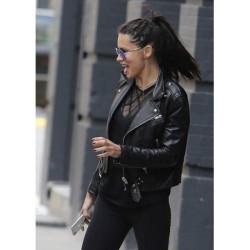 ADRIANA LIMA FASHION SHOW BLACK LEATHER JACKET