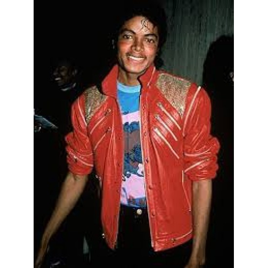 Michael Jackson Beat IT Vintage Leather Jacket with Removable Sleeve
