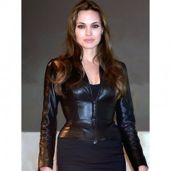 Angelina Jolie Black Leather Jacket