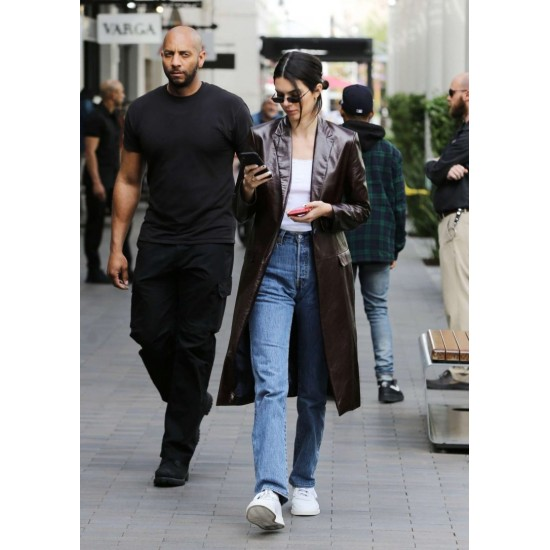 Kendall Jenner Brown Leather Coat