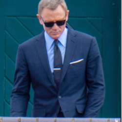 No Time To Die James Bond Navy Blue Check Suit