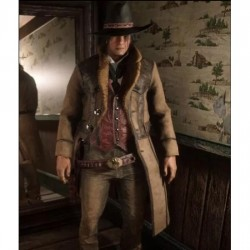 Red Dead Redemption 2 Montana Brown Shearling Trench Coat