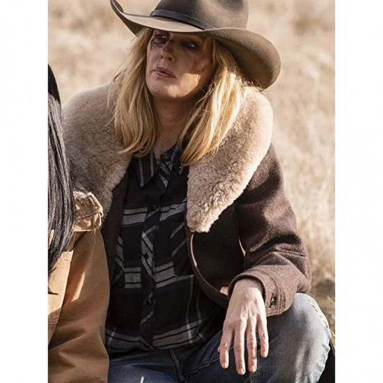 Yellowstone Kelly Reilly Shearling Wool Coat