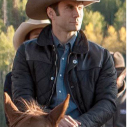 Wes Bentley Yellowstone Jamie Dutton Leather Quilted Jacket